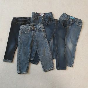 Girl's 3T Toddler Demin Jeans 5 Pair Bundle